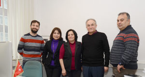 Soldan sağa: Cemil Şahinöz, T.C. Münster Başkonsolosu Pınar Gülün Kayseri, Fatma Öztürk, Adnan Öztürk ve Himmet Elmacı.