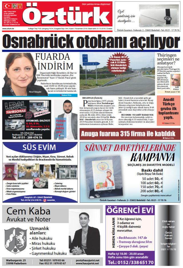 Öztürk Gazetesi Sayı-344(Kazım-2019)-Bielefeld