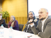Sağdan sola: Engin Karahan, Kadir Yücel, Nefise Sağlam ve Olga Janzen çalışmalarını anlattılar.
