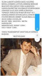 Niyazi Cora'nın Trabzon gazetelerinde yayınlanan vefat ilanı.